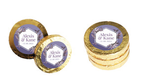 Hexagon On Aubergine Wedding Chocolate Coins (Gold Or Silver)