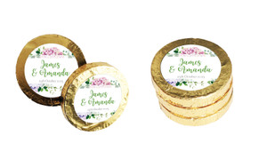 Hydrangea Wedding Chocolate Coins (Gold Or Silver)