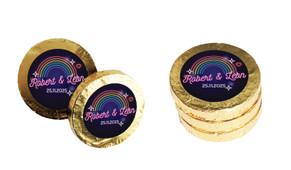 Neon Rainbow Wedding Chocolate Coins (Gold Or Silver)