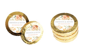 Peach And Bronze Floral Wedding Chocolate Coins (Gold Or Silver)