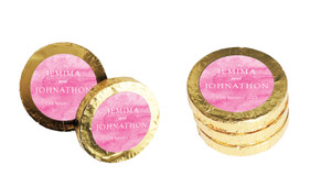 Pink Ombre Wedding Chocolate Coins (Gold Or Silver)