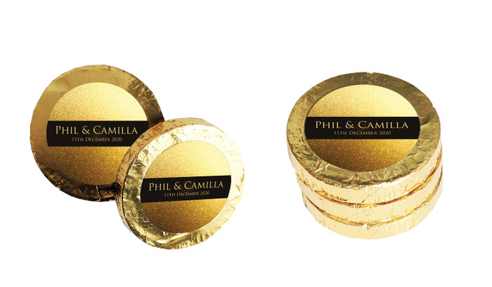 Solid Gold Wedding Chocolate Coins (Gold Or Silver)