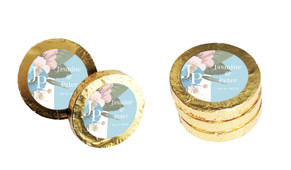 Spring Monogram Wedding Chocolate Coins (Gold Or Silver)