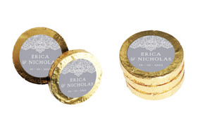 Vintage Lace Wedding Chocolate Coins (Gold Or Silver)