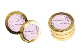 Vintage Pink Wedding Chocolate Coins (Gold Or Silver)