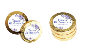 Violets On Gold Frame Wedding Chocolate Coins (Gold Or Silver)