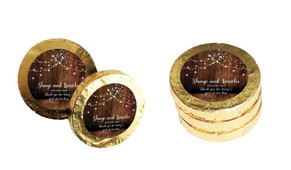 Wood Bunting Wedding Chocolate Coins (Gold Or Silver)