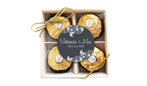 Classic Grey Floral Personalised Ferrero Rocher Gift Box