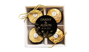 Flowers On Black Personalised Ferrero Rocher Gift Box