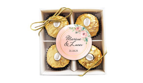 Gold Rings On Peach Personalised Ferrero Rocher Gift Box