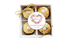 Heart Shaped Floral Personalised Ferrero Rocher Gift Box