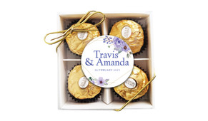 Violets On Gold Frame Personalised Ferrero Rocher Gift Box