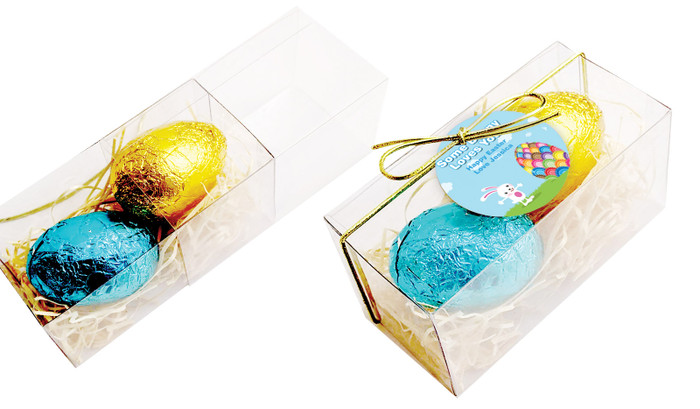 Perspective View - Big Egg Bunny Easter Egg Slide Box With Swing Tag With 2 Eggs
