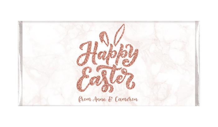 Rose Gold Personalised Easter Chocolate Bars