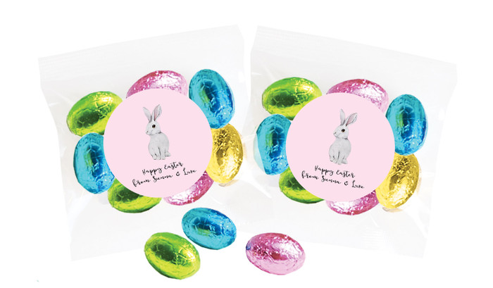 Watercolour Bunny Personalised Bag Of Easter Eggs