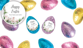 Bunny Kiss Personalised Chocolate Half Easter Eggs