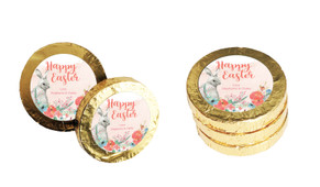 Floral Corners Custom Easter Chocolate Coins (Gold Or Silver)