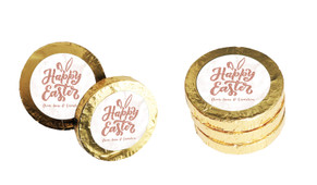 Rose Gold Custom Easter Chocolate Coins (Gold Or Silver)