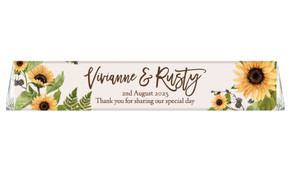 Rustic Sunflower Custom Toblerone Wedding Chocolates