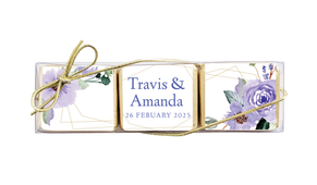 Violets On Gold Frame Mini Chocolate Trio Favour