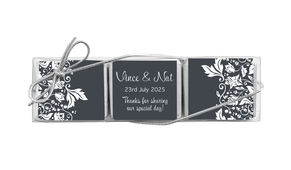 Classic Grey Floral Custom Mini Chocolate Trio Favour