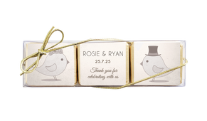 Sepia Love Birds Custom Mini Chocolate Trio Favour