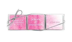 Pink Ombre Custom Mini Chocolate Trio Favour