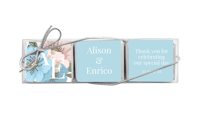 Spring Monogram Custom Mini Chocolate Trio Favour