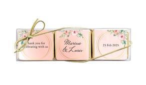 Gold Rings On Peach Custom Mini Chocolate Trio Favour