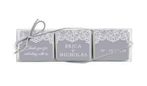 Vintage Lace Personalised Mini Chocolate Trio Favour