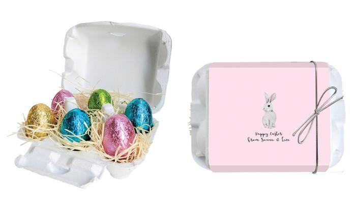 Watercolour Bunny Personalised Easter Egg Carton