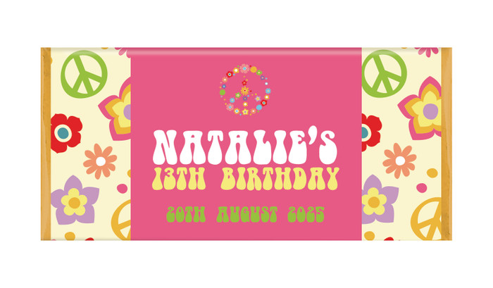 60's Hippie Personalised Chocolate Bars - Australia's #1 Kids Party Supplies
