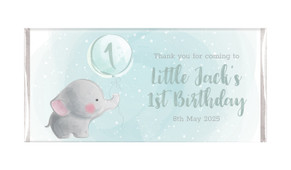 Elephant Balloon Birthday Personalised Chocolate Bars - Australia's #1 Kids Party Supplies