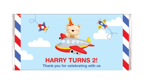 Bear Air Plane Personalised Chocolate Bars - Australia's #1 Kids Party Supplies