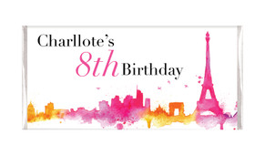 Paris Watercolour Personalised Chocolate Bars - Australia's #1 Kids Party Supplies