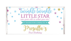 Twinkle Star 1st Birthday Personalised Chocolate Bars - Australia's #1 Kids Party Supplies
