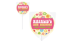 60s Hippie Birthday Party Personalised Lollipops