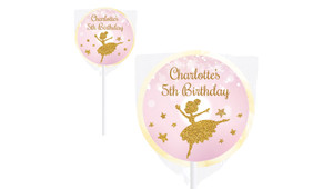 Golden Ballerina Personalised Lollipops - Australia's #1 Kids Party Supplies