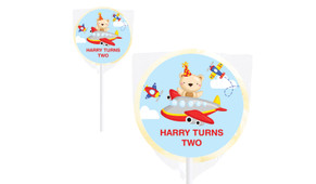 Bear Air Plane Personalised Lollipops - Australia's #1 Kids Party Supplies