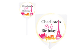 Paris Watercolour Personalised Lollipops - Australia's #1 Kids Party Supplies