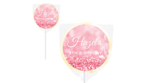 Pink Glitter Personalised Lollipops - Australia's #1 Kids Party Supplies