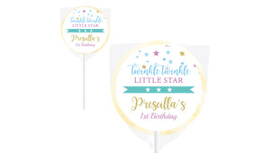 Twinkle Star 1st Birthday Personalised Lollipops - Australia's #1 Kids Party Supplies