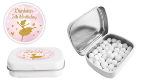Golden Ballerina Birthday Personalised Mint Tin Favour - Australia's #1 Kids Party Supplies