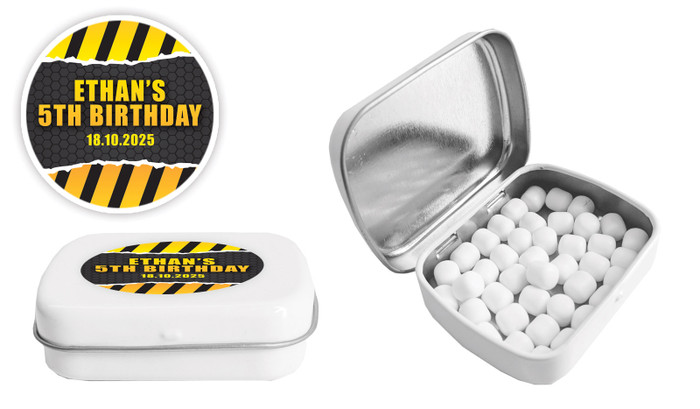 Construction Builders Birthday Personalised Mint Tin Favour - Australia's #1 Kids Party Supplies