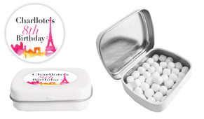 Paris Watercolour Birthday Personalised Mint Tin Favour - Australia's #1 Kids Party Supplies