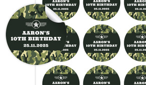 Army Birthday Large 65mm Custom Stickers - Set Of 12 - Australia's #1 Kids Party Supplies