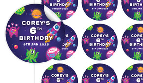 Outerspace Birthday Large 65mm Custom Stickers - Set Of 12 - Australia's #1 Kids Party Supplies