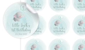 Elephant Balloon Birthday Birthday Large 65mm Custom Stickers - Set Of 12 - Australia's #1 Kids Party Supplies