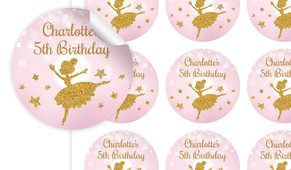 Golden Ballerina Birthday Large 65mm Custom Stickers - Set Of 12 - Australia's #1 Kids Party Supplies