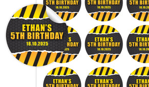 Construction Builders Birthday Large 65mm Custom Stickers - Set Of 12 - Australia's #1 Kids Party Supplies